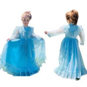 Vintage Prairie Pioneer Baby Blue Handmade Dress